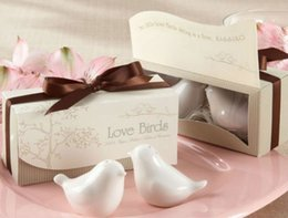 Wholesale Ceramic Salt Cellar - Free 200PCS=100SET Shipping DHL or SF_Express Love Birds Ceramic Salt and Pepper Shaker Wedding Favors Gifts