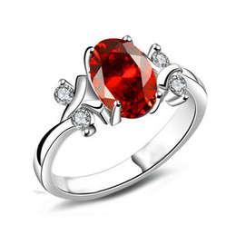 Wholesale Imitation Platinum Silver Wedding Rings - New Luxury Ruby Ring Brand Wedding Platinum Plated Bride Jewelry AAA Romantic Christmas Gift Silver Rings Luxury Brand Ruby Accessories