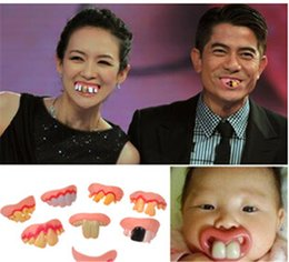 Wholesale Gag Teeth - Wholesale- Gags Practical 8 Style optional Funny Gags Practical Jokes Prank Freak False Teeth Set Halloween April Fool's Day Gift Wacky Toy