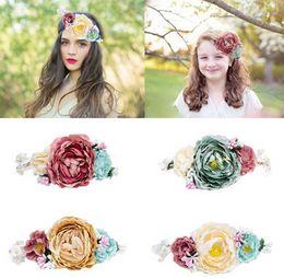 Wholesale Headwear Garland - Bride bohemian flowers headband festival wedding floral garland hair band headwear baby hair accessories women beach hair band T0296