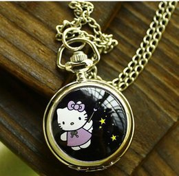 Wholesale Kitty Pocket Watch - Lovely classic cartoon children enamel Hello Kitty watches Design fashion charming quartz Pocket watch necklace