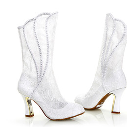 Wholesale Lace Mid Calf Wedding Dress - 2016 Fashion White lace Wedding Boots Sexy Woman Spring Autumn High Heel Formal Boots Bridal Dress Shoes Party Prom High Heels