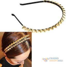 Wholesale Spiked Headbands - EA14 Fashion Cool Punk Headband Spike Cone Rivets Band Women Girl Hair Band Gold