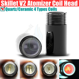 Wholesale New Replacement Heads - New Skillet 2 V II Rebuildable Coil Head Puffco pro Vaporizer Dual Quartz Ceramic Chamber Donut Wax atomizer replacement Coil head Ship Free