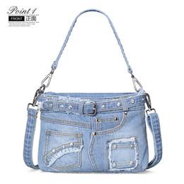 Wholesale Blue Jean Bag - PP Fashion young Lady Denim Handbag Fashion High quality Casual Denim Bag Shoulder Messenger Handbag Messenger Jean Washed