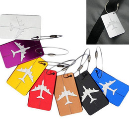 Wholesale luggage id - Air Plane Pattern Luggage Tag Baggage Handbag ID Tag Name Card Metal ID Tags Keychain 9 Colors OOA2489