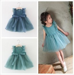 133dbbec57b Baby Kids Clothing 2017 vintage Flower girls dresses Summer children Bow  Solid Ball gowns princess costume party dress toddler clothes