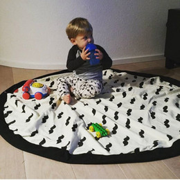 Wholesale Mother Doors - Baby Blanket Pouch Kids Play Mats Rugs Canvas Storage Bag Blanket Batman Cross Portable Mother Care Outdoor Round Carpet Mats