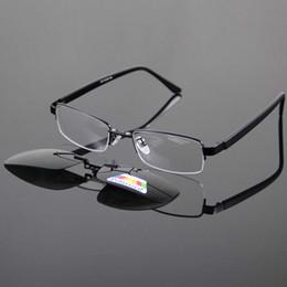 Clip polarizado de los vidrios de conducción online-Gafas de sol magnéticas Clip-on Gafas polarizadas Sombra Sun Glasse Gafas de metal plateadas Gafas Marco para leer con la lectura 570