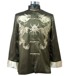 Wholesale Kung Fu Jackets Men - Wholesale- Green Traditional Chinese Men's Embroidery Kung-fu Jacket Coat with Dragon M XL XXXL YF1115