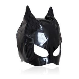 Wholesale Cat Adult - Hot sexy Female Sex Bondage Fetish Leather Mistress Cat Hood Adult Half Face Mask Masquerade Costume