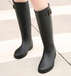 Wholesale Rubber Rain Boots Women Black - Hot Selling 2016 Spring Autumn Women New Fashion Rain High Knee Length Black Rubber Boots Shoes Waterproof Wellies 6 Sizes