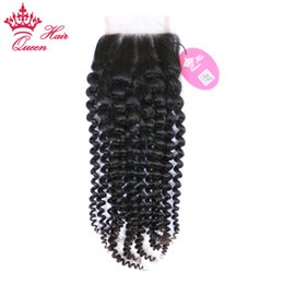"""Wholesale parts stores - Queen Hair Top Quality Lace Closure Brazilian Virgin Human Hair Kinky Curly Free Part 8""""-20"""" 8A Grade in Store DHL Free Shipping"""