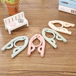 Wholesale Cheap Clothes Closet - 10 pcs lot Cheap Candy Color Clothing Racks Plastic Folding Clips Home Neatening Storage