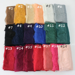 Wholesale Wholesale Solid Cotton Scarves - Wholesale-2016 lace edges scarf women floral lace hijab shawl cotton viscose muslim scarfs pretty lady solid scarf fashion plain shawl