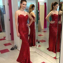 Wholesale Long Chiffon Robe - Sweetheart vestidos de baile Red ballkleider Sequin Mermaid Prom Dresses Long robe de soiree longue Evening Formal Gowns Dresses