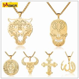 Wholesale Mens Wolf Jewelry - 2018 Mens Hip Hop Jewelry Skull Wolf Bull Necklaces Gold Silver Chain Popular Fashion Lion Islam The Cross Pendant Jewelry