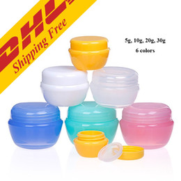 Wholesale Cosmetic Jars Sample Containers - DHL FREE 20g 30g transparent small round bottle Cosmetic Empty Jar Pot Eyeshadow Lip Balm Face Cream Sample Container 6 colors