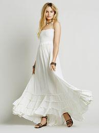 Wholesale White Strapless Hippie Dress - Boho Linen Beach Dress Summer Blackless Halter Bohemian Sexy Long Dresses Women Party Hippie Chic Dress Vestidos Mujer 5 Solid Color