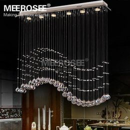 Wholesale Rectangle Light Fixture - Rectangle Crystal Chandelier Light Fixture Crystal Curtain Wave Lamp for Ceiling Dining Room Prompt Shipping 100% Guanrantee