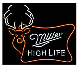 Wholesale Commercial Outdoor Sign - Brand New Miller High Life Outdoor Wild Buck Real Glass Neon Sign Beer light