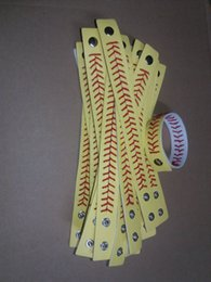 Wholesale Sporting Softball - softball baseball sport bracelet- actual baseball leather bracelet ,Yellow softball leather with red seams stitching.