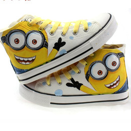Wholesale Men canvas shoes Hand Painting High top Outdoor Minions Lacing big eyes Family Shoes women canvas shoes fashion Flats size