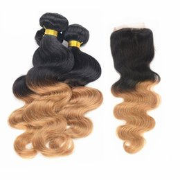 Wholesale Two Toned Lace Top Closure - Omber Malaysian Hair Body Wave Wefts Weaves 3pcs With Lace Top Closure 1B #27 Two Tone Color Honey Blonde Ombre Human Hair Extensions