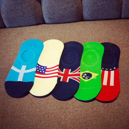 Wholesale Red White Blue Striped Flag - 2017 Fashion High Quality British Style Men National Flags Country World Cup Low Cut Ankle Socks Fashion Invisible Cotton Socks