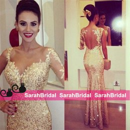 Wholesale Metallic Lace Tulle - Metallic Gold Sequined Shine Evening Dresses with Single Long Sleeve for Women Formal Occasion Wear Sale Sparkly Fit and Flare Prom Gowns