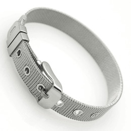 Wholesale 18mm Wristband - Men's Stainless Steel Bracelet Cuff Belt Mesh Buckle Bangle Wristband 6 8 10 12 14 16 18mm Width 21cm Length