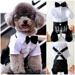 Wholesale Black Dog Tie - Handsome Dog Rompers Clothing Formal Dog Jumpsuit with Bow Tie Groom Tuxedo New Pet Costumes