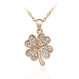 Wholesale Lucky Star Pendant Wholesale - Fashion jewelry for woman Statement necklace! Korean stars recommend jewelry crystal clover pendant necklace - lucky clover - B151