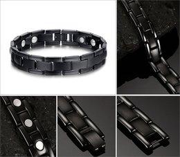 Wholesale Titanium Bracelets For Health - Newest Health Energy Magnet Men Classic Bio Magnetic Titanium Bracelet Sport Bracelets Bangles For Men Hand Chain Therapy Bracelet B833S