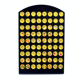 Wholesale Wholesale Earring 36 - 36 Pairs Resin Emoji Stud Earrings Set Cute Funny Smile Face Earings Yellow Cartoon Emotios Ear Studs For Women Girls Children Gift Jewelry