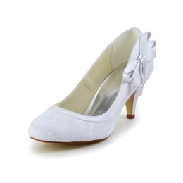 Wholesale Large Size Lace Wedding Shoes - 2017 New 8cm Heel Nice Lace Pump Elegant Style Women Bridal Shoe Wedding Dress Shoes Handmade Shoe for Wedding Large Small Size