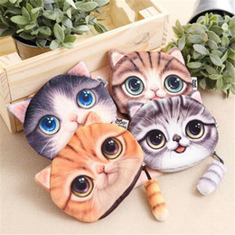 Wholesale Korean Cat Bag - 4 Design 3D Printer Cat face Cat with tail Coin Purse Bag Wallet Girls Clutch Purses Change Purse cartoon handbag case D639
