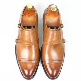 Wholesale Monk Strap Shoes Men - Men Dress Shoes Luxury Brand New fashion Double Monk Strap Height Increase Handmade Ital Men Formal Shoes