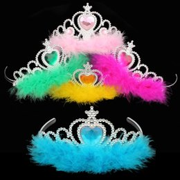 Wholesale Girls Crowns Tiaras - movie crown Girls feather Hair Accessories imperial kids girls rhinestone crown tiara Children Cosplay Coronation baby feather crown