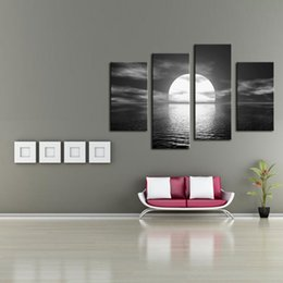 Wholesale Painting Oil Sea - 4 Piece Wall Art Painting Over the Sea the Moon Shines Bright Seascape Painting Printed on Canvas for Living Room Home Decoration Unframed
