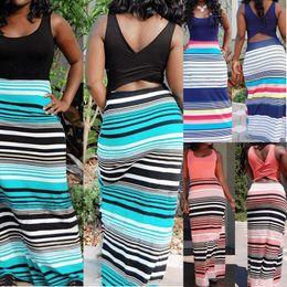 Wholesale plus size maxi dresses sale - Hot Sale Sexy Women Summer Beach Boho Maxi Dress 2017 New High Quality Brand Striped Print Long Dresses Feminine Plus Size