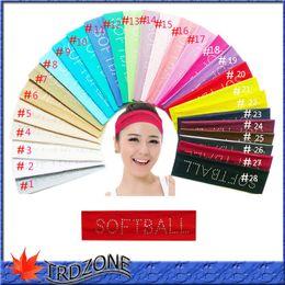 Wholesale Cotton Head Sweatband - 131 color Cotton Stretch Headbands Yoga Softball Sports Soft Hair Band Wrap Sweatband Head