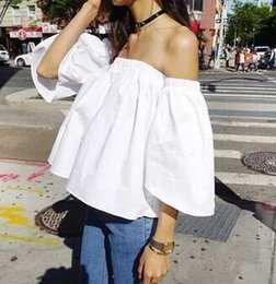 Wholesale Black Ruffle Collar Blouse - Summer New Women 2016 Strapless Off Shoulder Tops Word Collar Trumpet Sleeve Shirts Women Loose Blouse Free Size