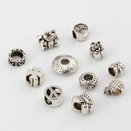 Wholesale Flower Frogs - Hot ! 110pcs Antique Silver Alloy Mix Peace mark. Butterfly. flower . frogs Etc. Big Hole Spacer Beads Fit European Bead Bracelet