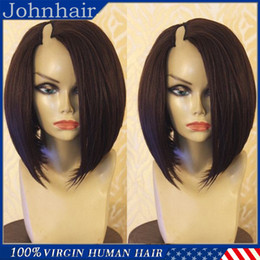 Wholesale Remy U Part Wig - U Part Wigs Virgin Hair Silky Straight 1*4 Right Opening U Part Bob Wig For Black Women Brazilian Upart Wig Human Hair 8A
