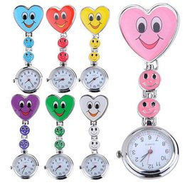 Wholesale Heart Silicone Nurses Watch - Fashion Colorful Silicone Nurse Smile watch Pocket Watches Doctor Fob Quartz Watch Kids Gift Watches 100pcs lot 7colors for choice