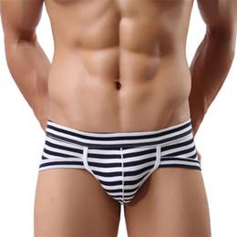 Wholesale Best Men Cotton Boxers - Wholesale-Best seller Hot Men's Sexy Cotton Stripe Underwear Shorts Men Underpants Soft Briefs Jan23