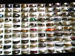Wholesale Real Skeletons - Brand New 100PCs cheap stock mixed different styles top men's women's real stainless steel band spinner jewelry rings wholesale lots