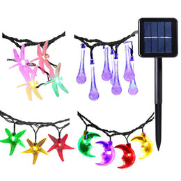 Wholesale Blue Starfish Decoration - Solar Lights Christmas LED String Lamps Outdoor Garden Decoration 12m 6m 4.8m Water Drop Flower Dragonfly Starfish Type for Garland Holiday