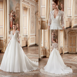 Wholesale Sexy Beach Chinese - 2017 Eddy K Classic Wedding Dresses V Neck 3 4 Sleeve A-Line With Pleats Belt Organza Chinese Style Wedding Gowns Custom Made AK166